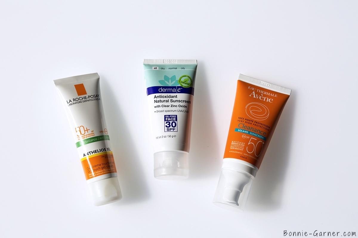 derma e antioxydant natural sunscreen SPF30, La Roche Posay Anthelios XL SPF50, Avene Cleanance solaire SPF50