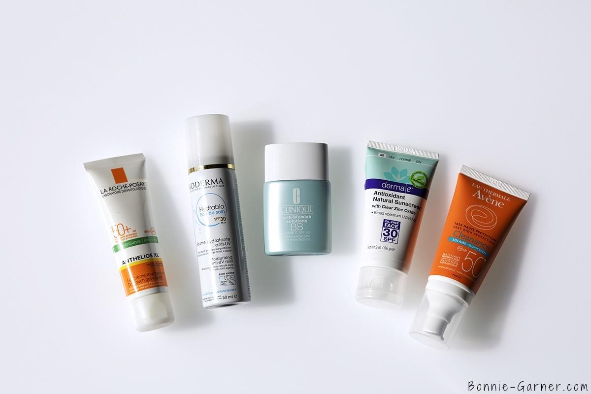 derma e antioxydant natural sunscreen SPF30, La Roche Posay Anthelios XL SPF50, Avene Cleanance solaire SPF50, Hydrabio eau de soin SPF30, Clinique BB cream SPF40