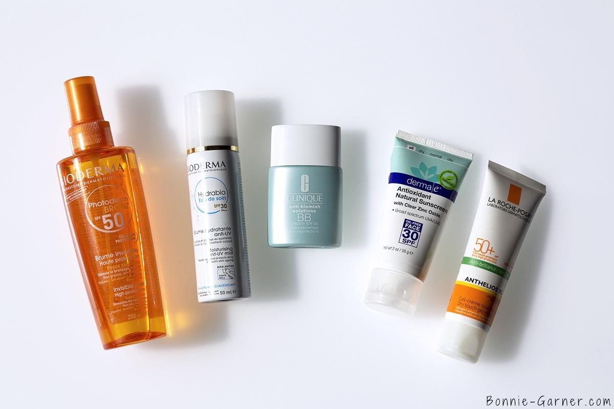 derma e antioxydant natural sunscreen SPF30, La Roche Posay Anthelios XL SPF50, Hydrabio eau de soin SPF30, Clinique BB cream SPF40, Photoderm Bronz SPF50