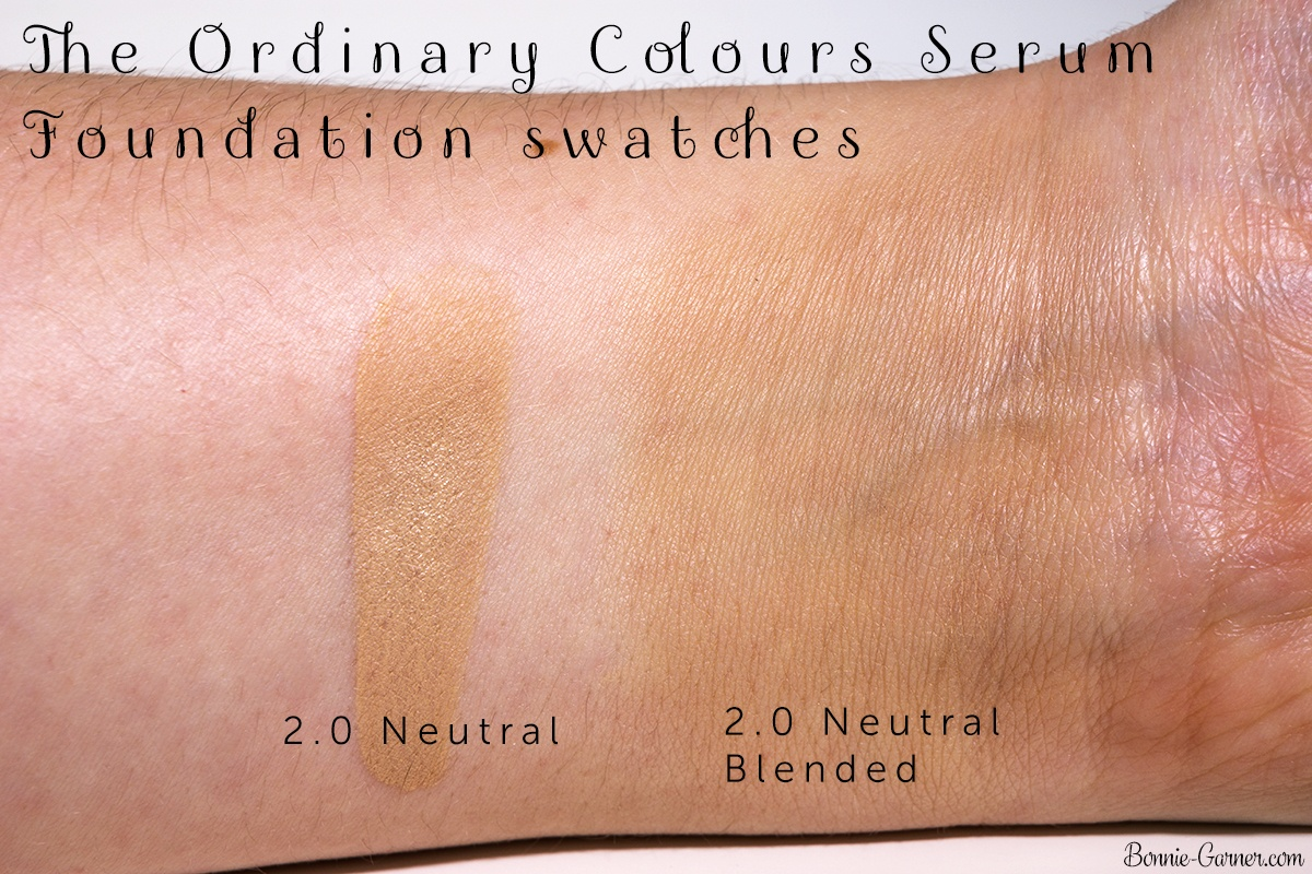The Ordinary Colours Serum Foundation 2.0 N swatches